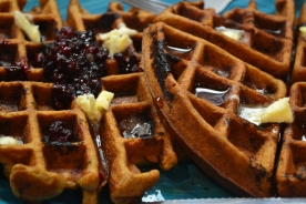 homemade waffles - handpicked blackberries and raspberries, organic pure maple syrup with a touch of cinnamon and nutmeg